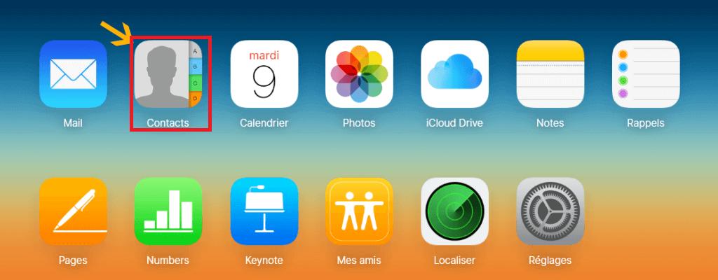 récupérer les contacts avec iCloud.com
