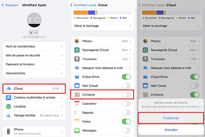 étapes pour synchroniser les contacts d'iCloud