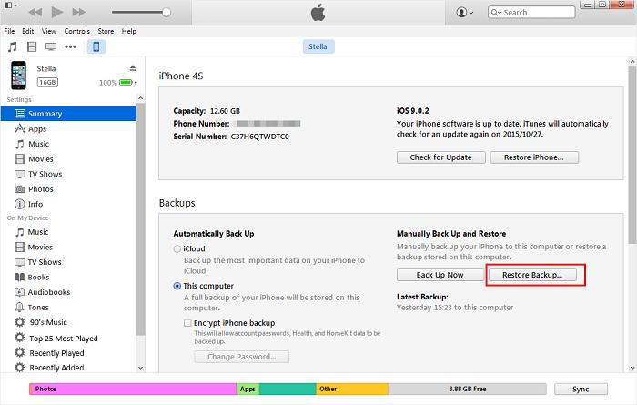 récupérer les données depuis iTunes