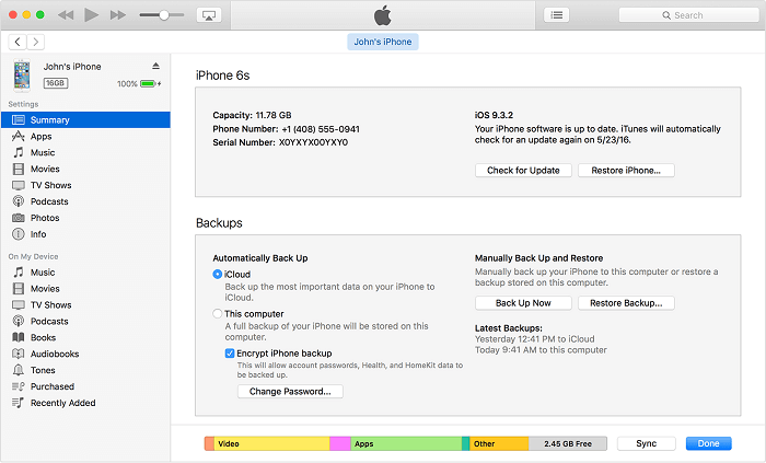 Restore iPhone from an iTunes Backup