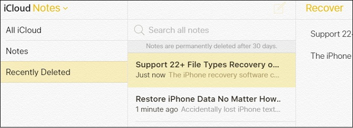 choose Recover from iCloud Backup feature