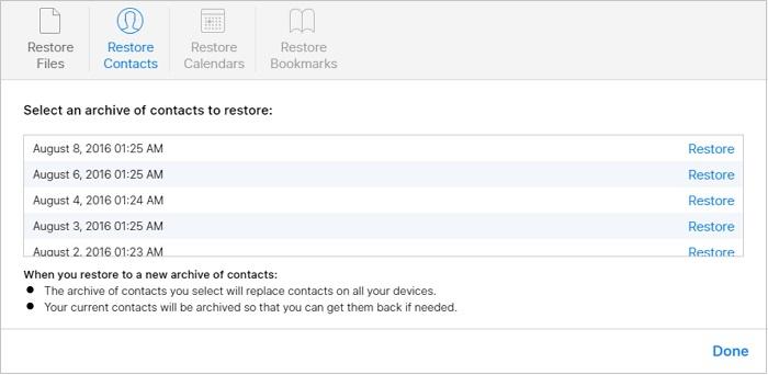 récupérer les fichiers supprimés depuis iCloud.com