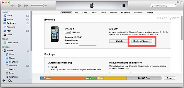 restore iphone 4/4s with itunes