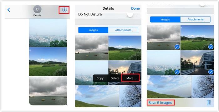 sauvegarder plusieurs photos et vidéos d'iMessage vers iPhone