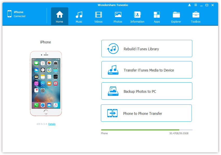 tunesgo iPhone transfer software