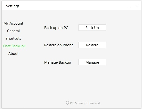 Backup WeChat Messages on pc