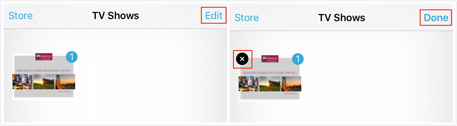 delete videos from videos app