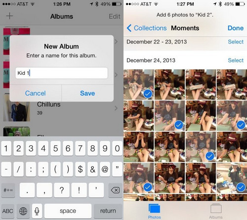 move photos from camera roll to album