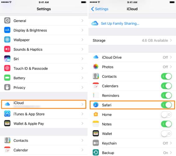 turn on safari from iCloud settings