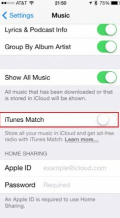 Turn off iTunes Match on iPhone<