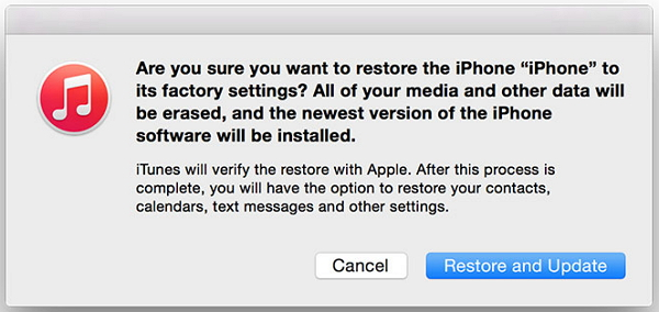 restore and update iPhone using iTunes