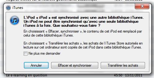 ipod synchronisé avec une autre bibliothèque