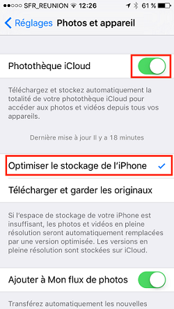 opyimiser le stocakge iphone