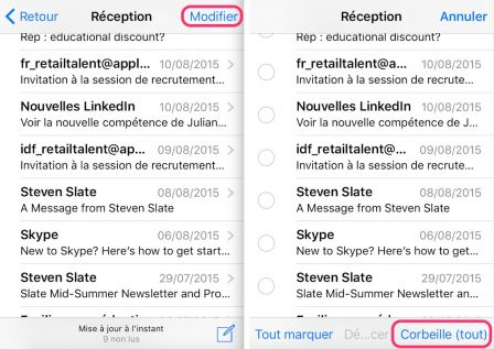 supprimer les mails de votre iPad