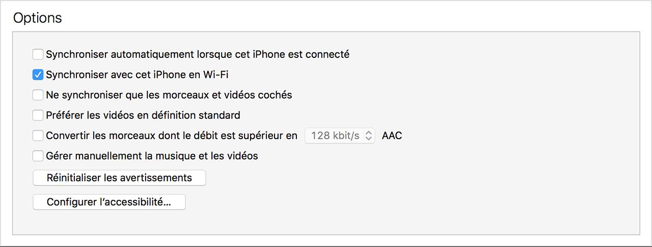 iTunes synchroniser en wifi