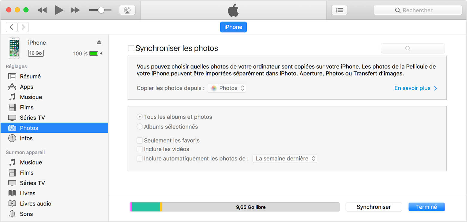 comment synchroniser les  photos iPhone/ipad