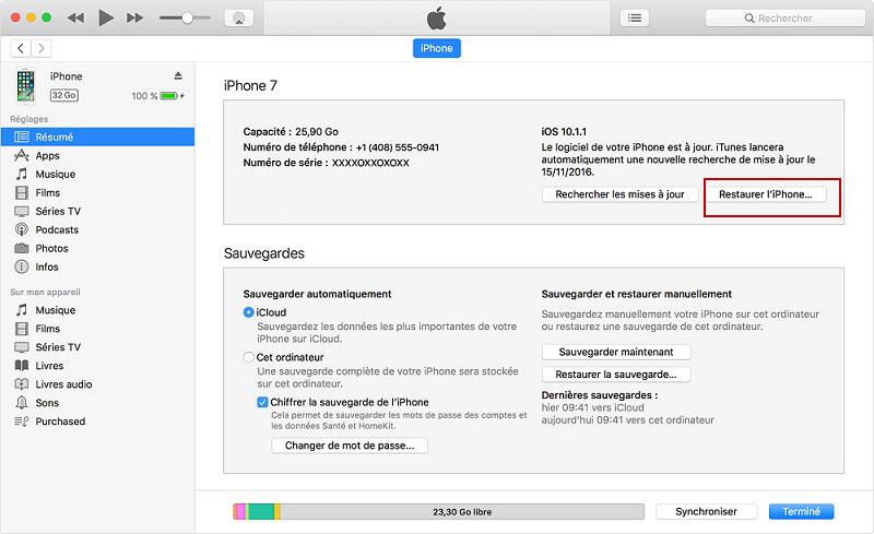 Restaurez l'iPhone Aux Réglages par défaut