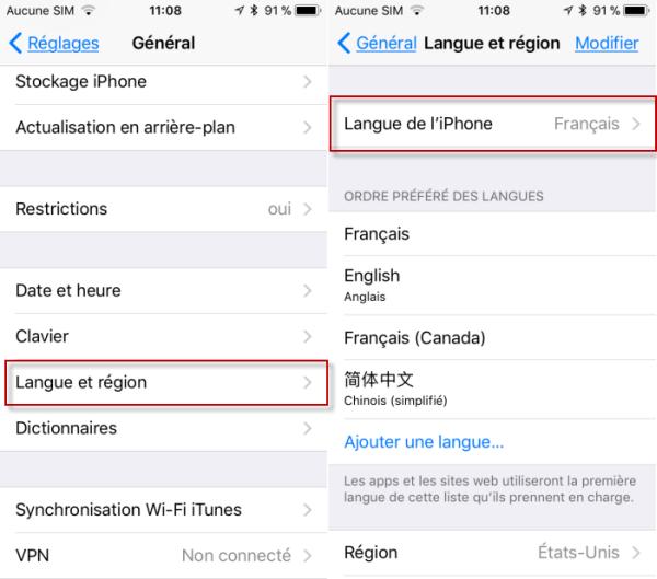 Changer la Language iPhone