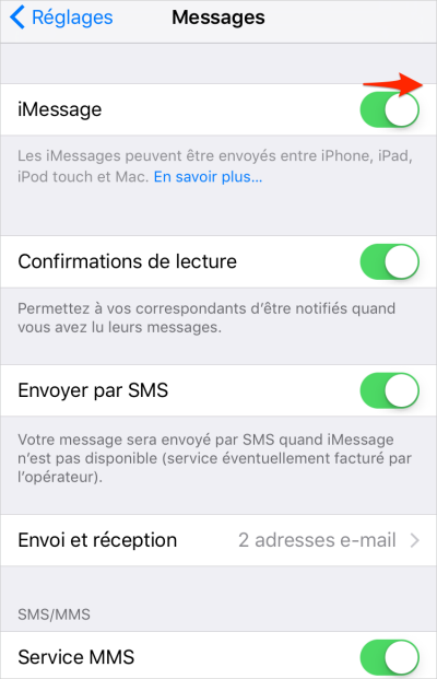 activer iMessage