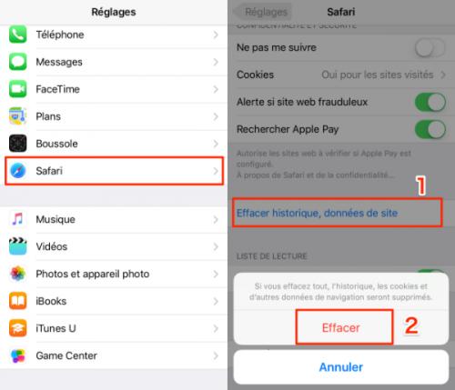 supprimer les données d'application sur iPhone
