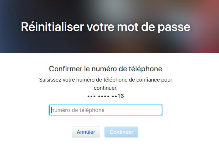 réinitialiser apple id par confirmer le numéro de téléphone