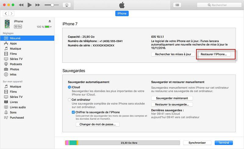 restaurer iphone à partir d'iTunes