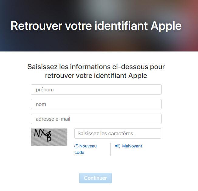 retrouver apple id
