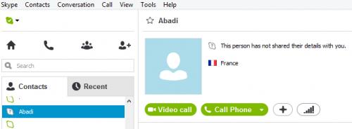 statut point d'interrogation gris du contact Skype