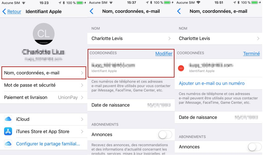 Changer l'Adresse Email iCloud sur iPhone 8