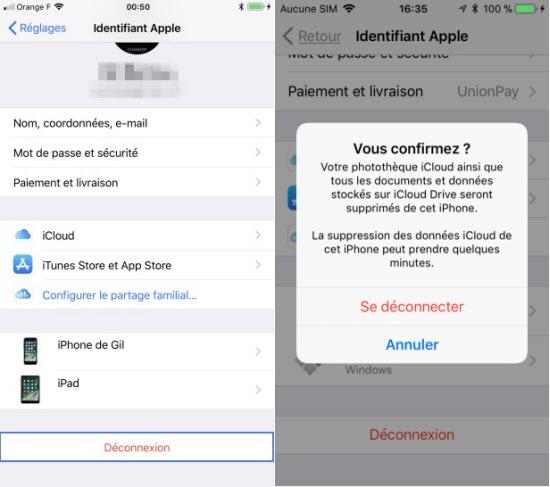 Déconnexion sur iCloud