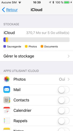 vérifier le stockage iCloud