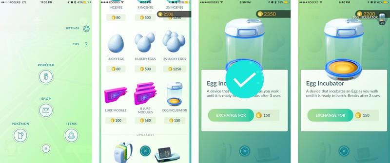acheter plus d'incubateurs avec des pokecoins