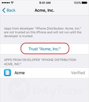faire confiance et autoriser GBA sur votre iphone