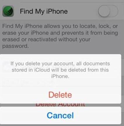 étape 5 pour supprimer iCloud