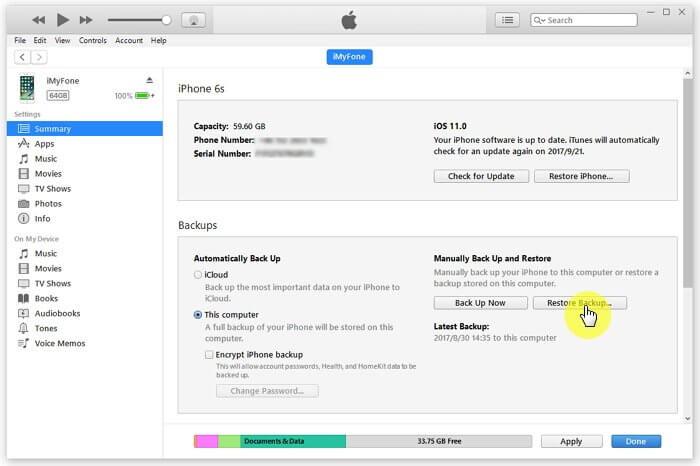 trouver les contacts supprimés en restaurant la sauvegarde d'iTunes