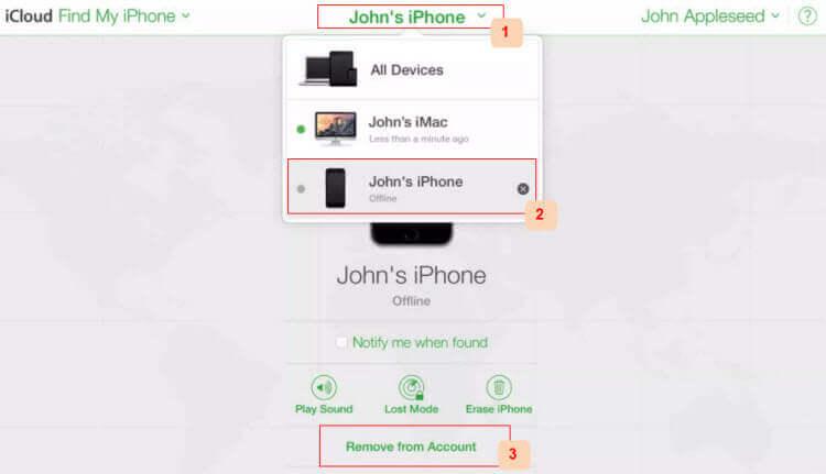 supprimer le verrouillage d'activation iCloud sur l'iPhone à partir de icloud
