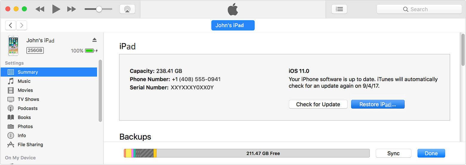 vérifier les mises à jour iPad sur iTunes