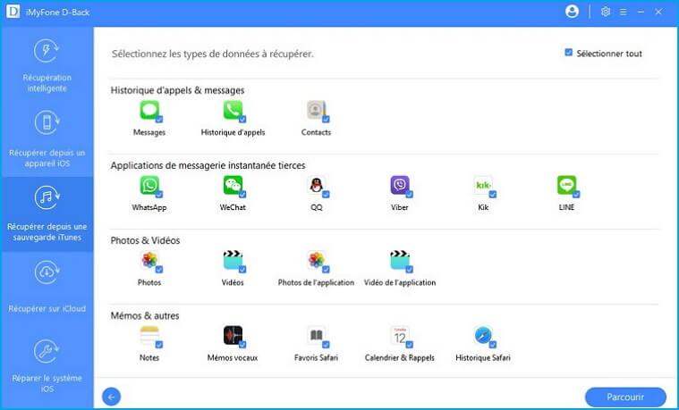 Sélectionnez les types de fichiers