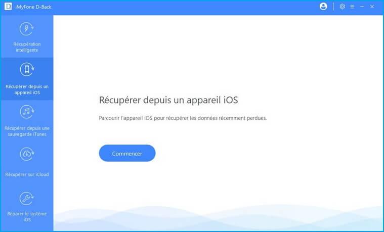 Récupérez à partir de l'onglet Périphérique iOS
