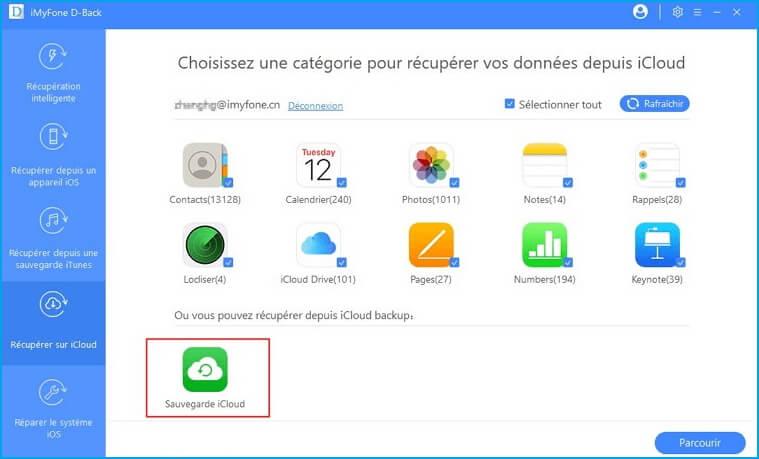 sélectionnez les sauvegardes iCloud