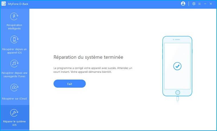 réparation du système iOS terminée