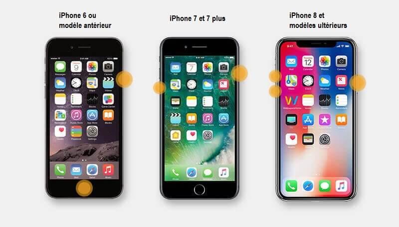 forcer le redémarrage iphones