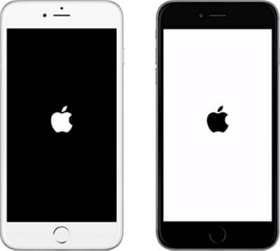 iPhone bloqué sur le logo Apple sur un fond blanc/noir