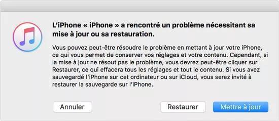 restaurer ou mettre à jour depuis iTunes