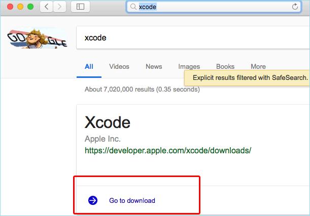 télécharger et installer l'application Xcode