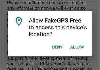 autorisez l'accès à Faux GPS Go Spoofer de localisation
