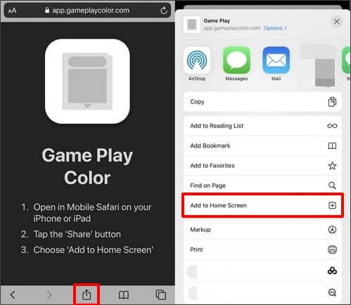 ouvrez le site internet game play color et sélectionnez ajouter à l'écran d'accueil