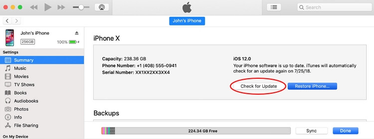 vérifier la nouvelle mise à jour iOS avec iTunes