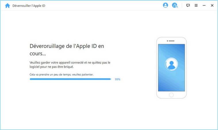 Déverrouiller l'Apple ID en cours