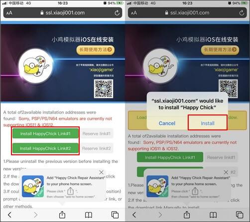 installer happy chick sur l'écran d'accueil de votre iphone